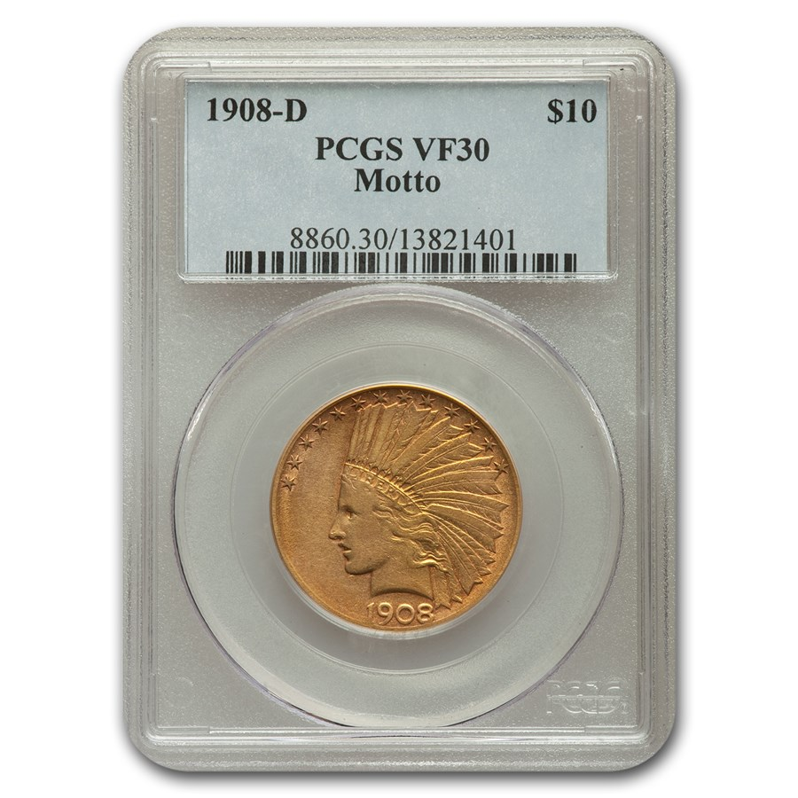 1908-D $10 Indian Gold Eagle VF-30 PCGS (Motto)