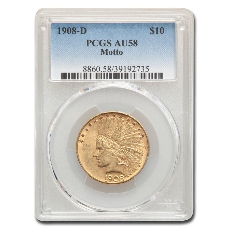 1908-D $10 Indian Gold Eagle w/Motto AU-58 PCGS