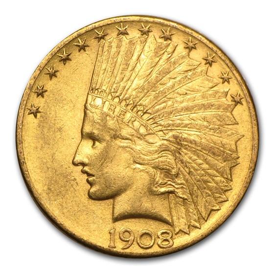 1908-D $10 Indian Gold Eagle w/Motto AU