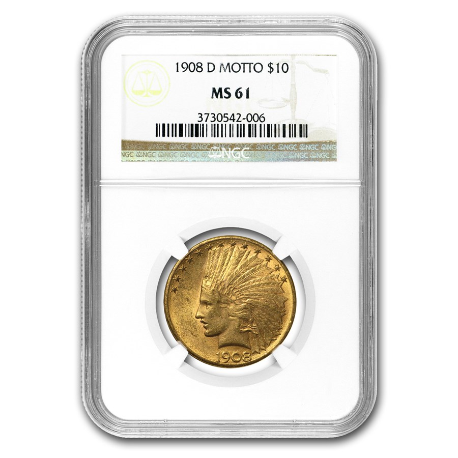 1908-D $10 Indian Gold Eagle w/Motto MS-61 NGC