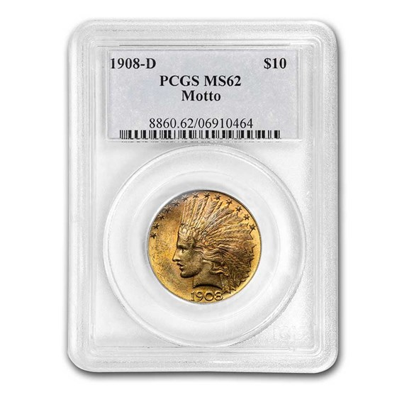 1908-D $10 Indian Gold Eagle w/Motto MS-62 PCGS