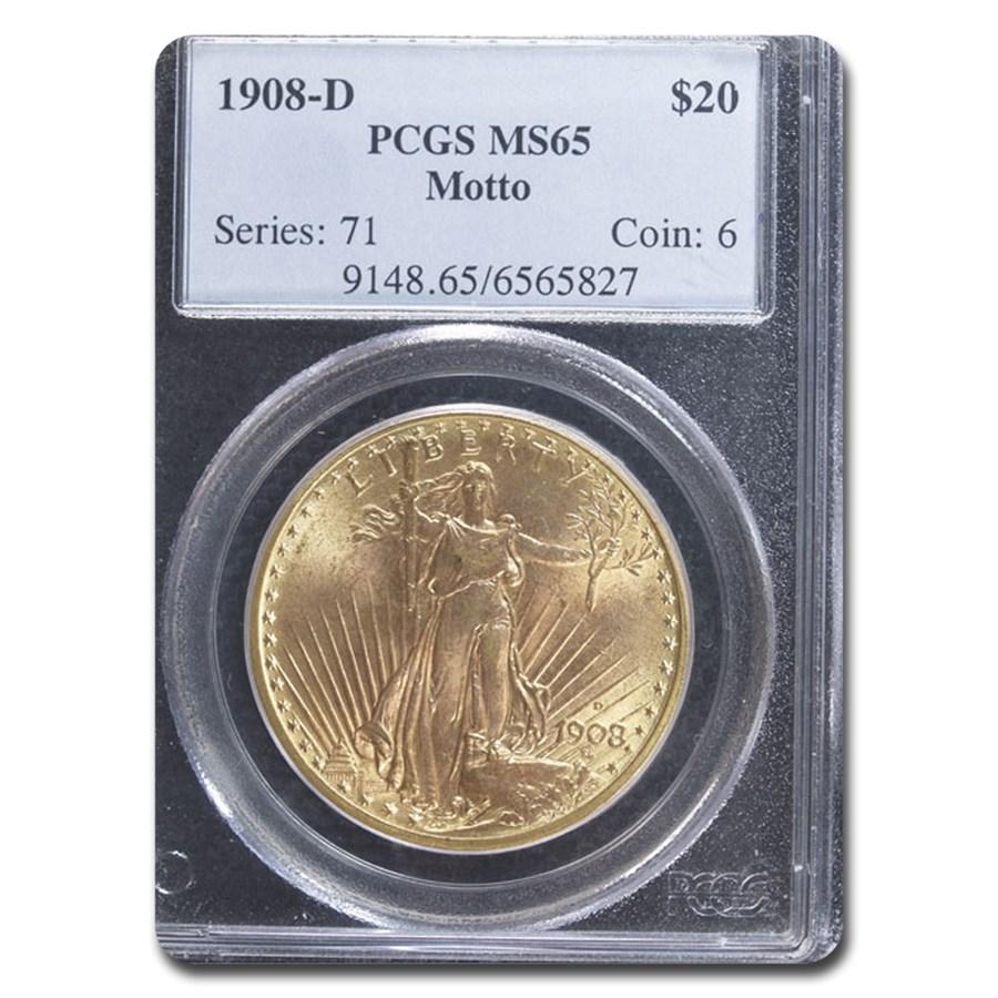 1908-D $20 Saint-Gaudens Gold Double Eagle w/Motto MS-65 PCGS