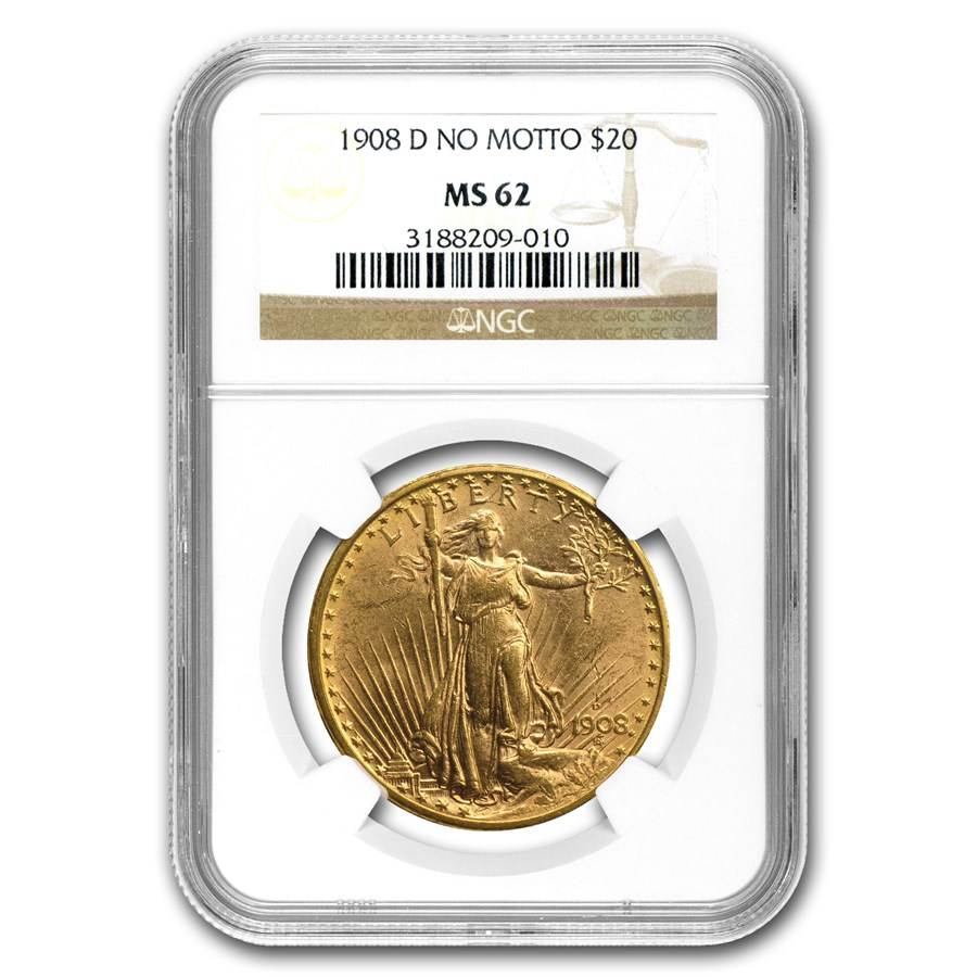1908-D $20 Saint-Gaudens Gold No Motto MS-62 NGC