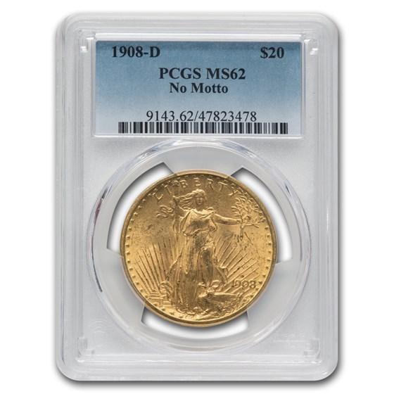 1908-D $20 Saint-Gaudens Gold No Motto MS-62 PCGS