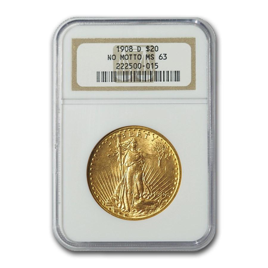 1908-D $20 Saint-Gaudens Gold No Motto MS-63 NGC