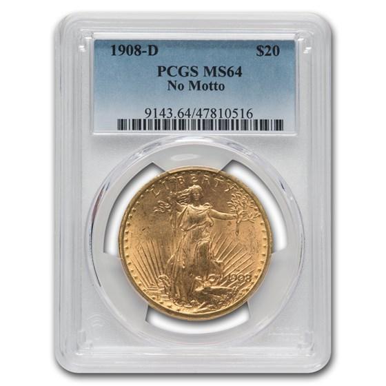 1908-D $20 Saint-Gaudens Gold No Motto MS-64 PCGS