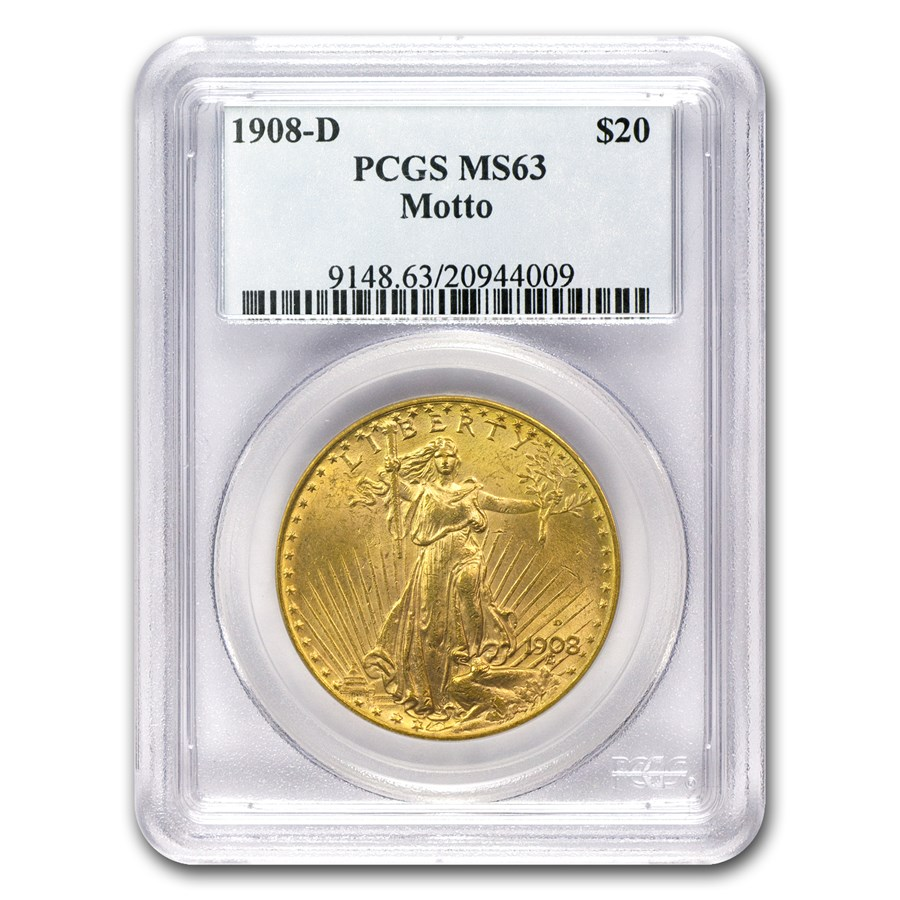 1908-D $20 Saint-Gaudens Gold w/Motto MS-63 PCGS