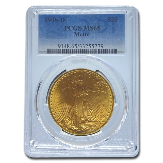 1908-D $20 Saint-Gaudens Gold w/Motto MS-65 PCGS