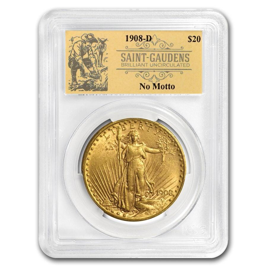 1908-D $20 St Gaudens Dbl Eagle No Motto BU PCGS Prospector Label