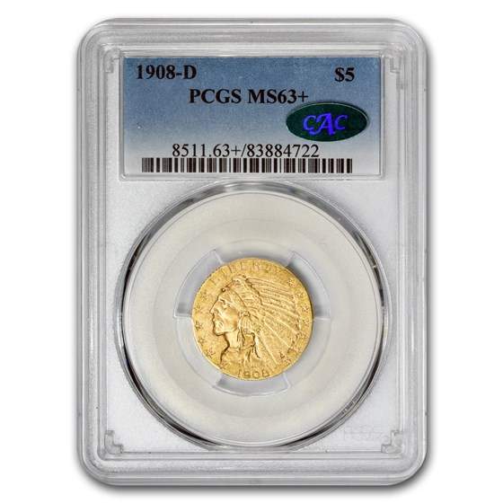 1908-D $5 Indian Gold Half Eagle MS-63+ PCGS CAC