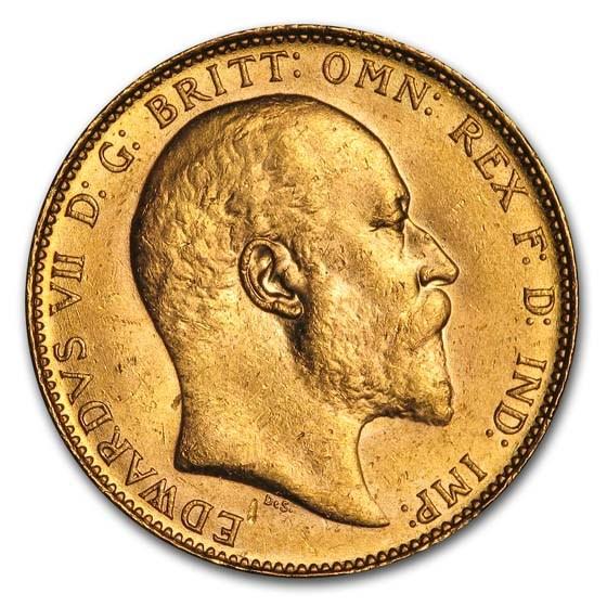 1908 Great Britain Gold Sovereign Edward VII BU