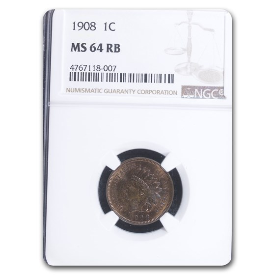 1908 Indian Head Cent MS-64 NGC (Red/Brown)