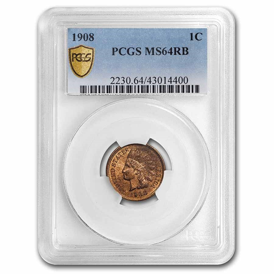 1908 Indian Head Cent MS-64 PCGS (Red/Brown)