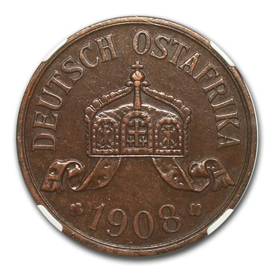 1908-J German East Africa Bronze 5 Heller AU-55 NGC