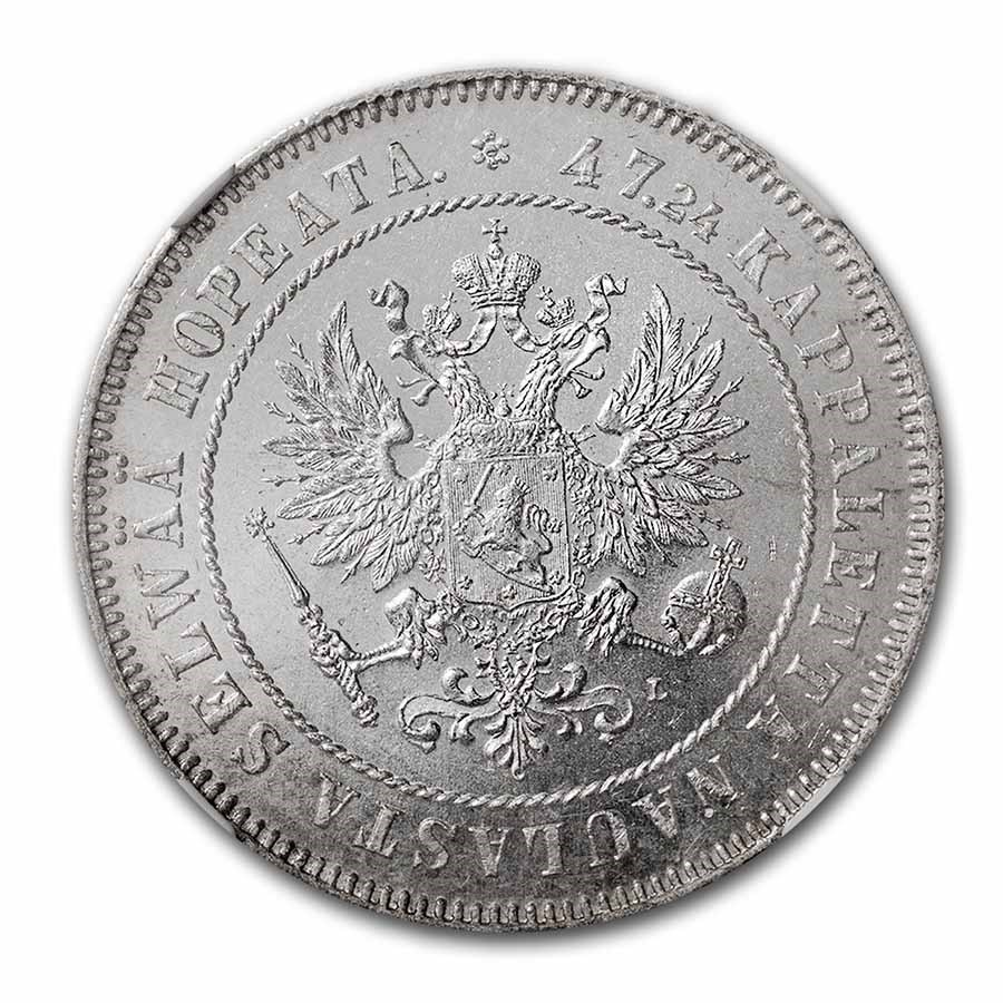 1908-L Finland Silver 2 Markkaa Nicholas II MS-63 NGC