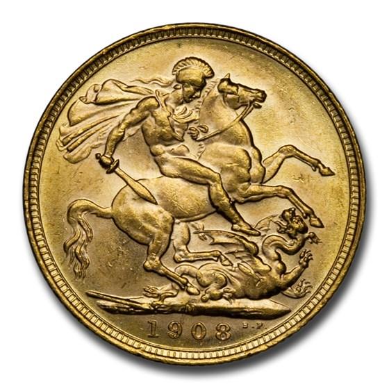 1908-M Australia Gold Sovereign George V BU