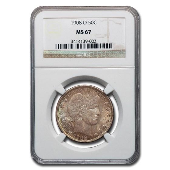 1908-O Barber Half Dollar MS-67 NGC