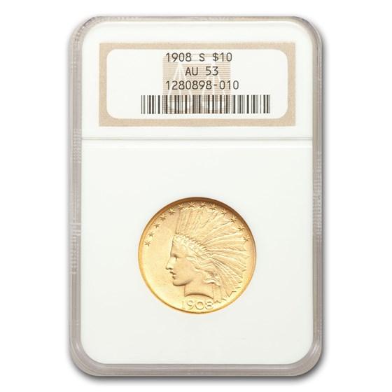 1908-S $10 Indian Gold Eagle AU-53 NGC