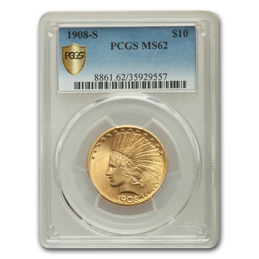 1908-S $10 Indian Gold Eagle MS-62 PCGS