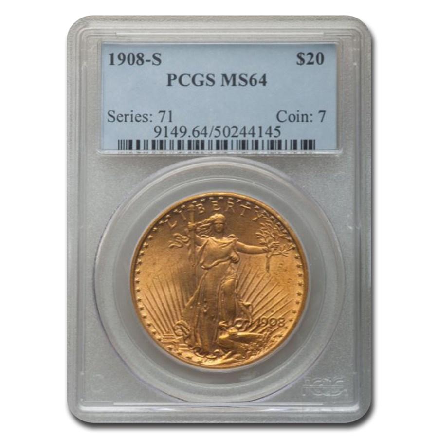 1908-S $20 Saint-Gaudens Gold Double Eagle MS-64 PCGS