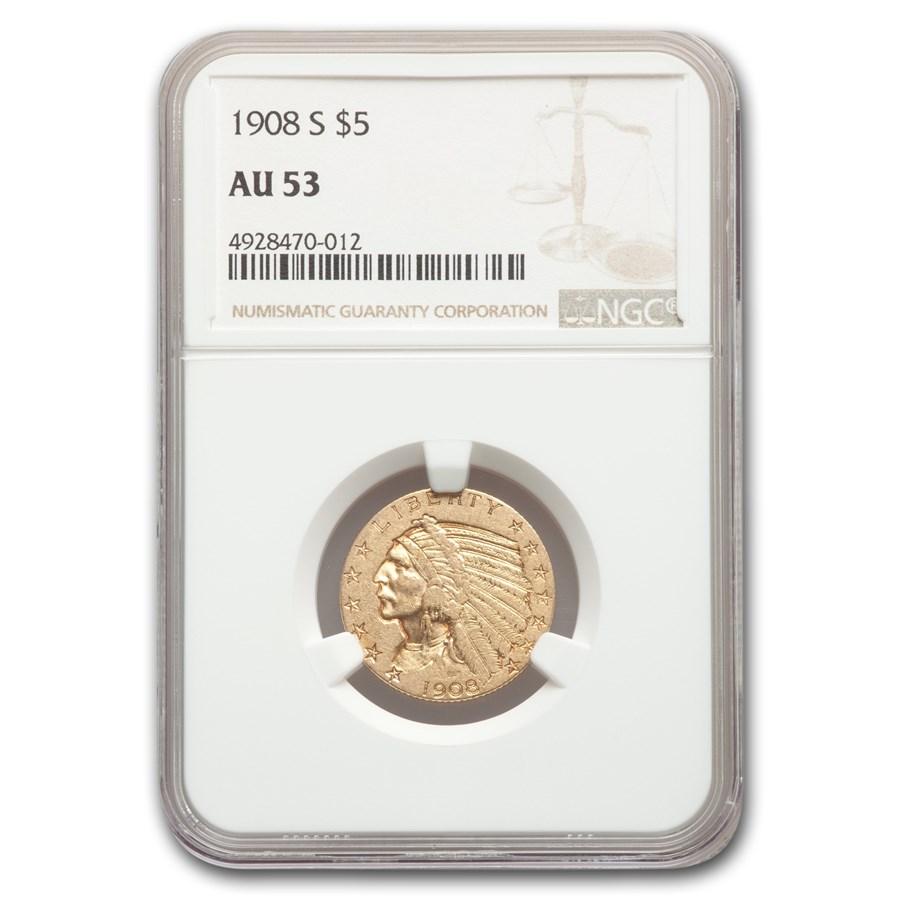 1908-S $5 Indian Gold Half Eagle AU-53 NGC