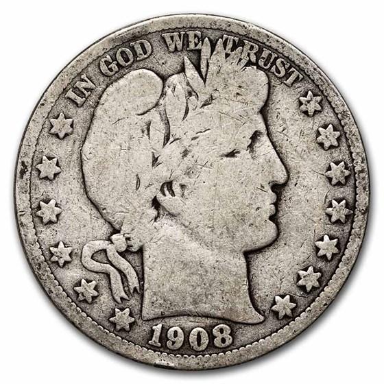 1908-S Barber Half Dollar VG