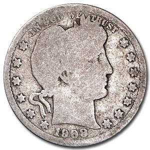 1908-S Barber Quarter AG