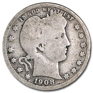 1908-S Barber Quarter Good