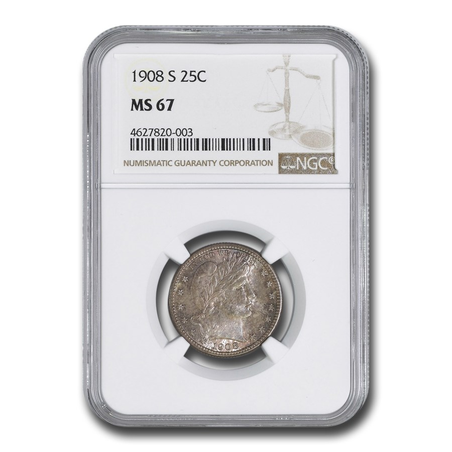 1908-S Barber Quarter MS-67 NGC
