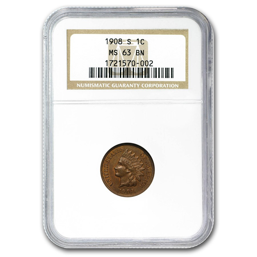 1908-S Indian Head Cent MS-63 NGC (Brown)
