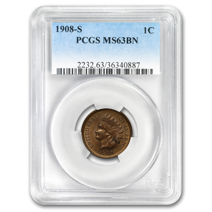 1908-S Indian Head Cent MS-63 PCGS (Brown)