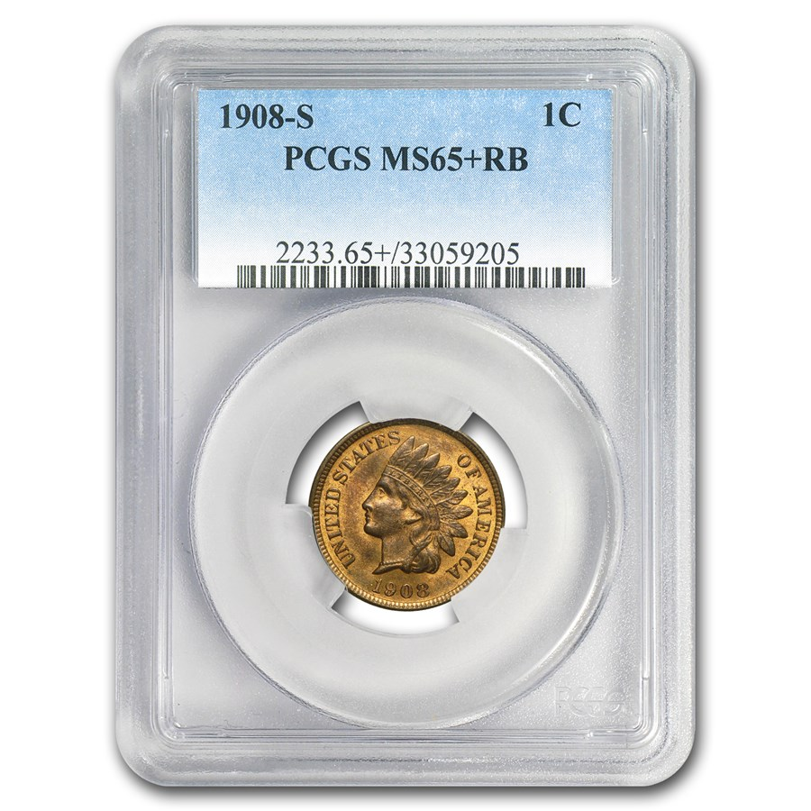 1908-S Indian Head Cent MS-65+ PCGS (Red/Brown)