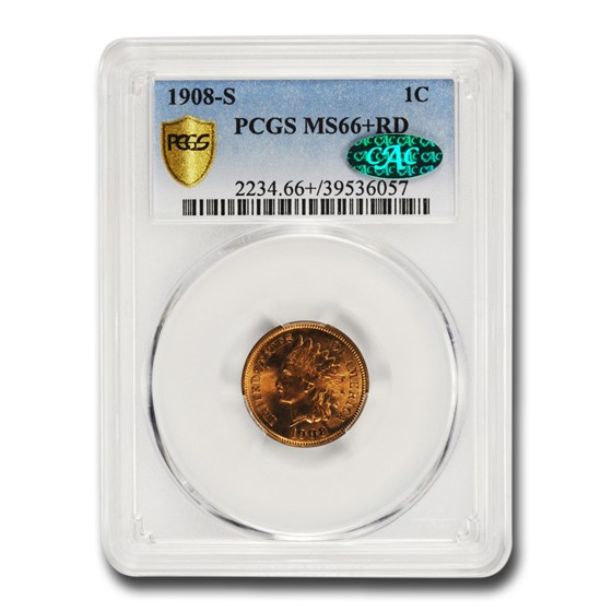 1908-S Indian Head Cent MS-66+ PCGS CAC (Red)