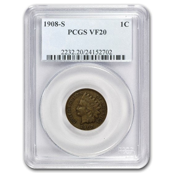 1908-S Indian Head Cent VF-20 PCGS