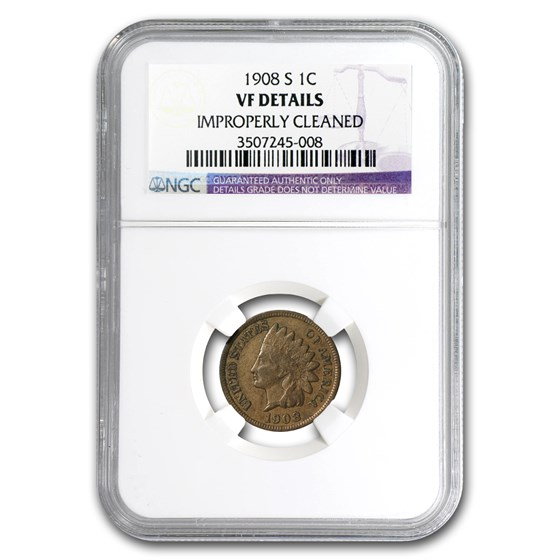 1908-S Indian Head Cent VF Details NGC (Cleaned)