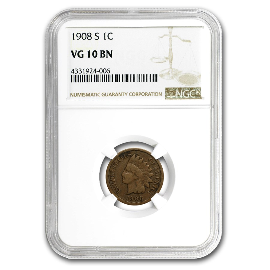 1908-S Indian Head Cent VG-10 NGC