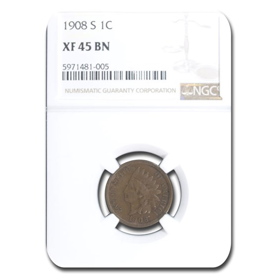 1908-S Indian Head Cent XF-45 NGC