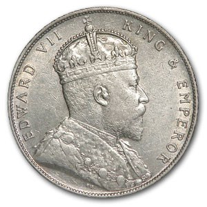 1908 Straits Settlements Silver Dollar Edward VII AU Detail