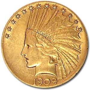 1909 $10 Indian Gold Eagle AU