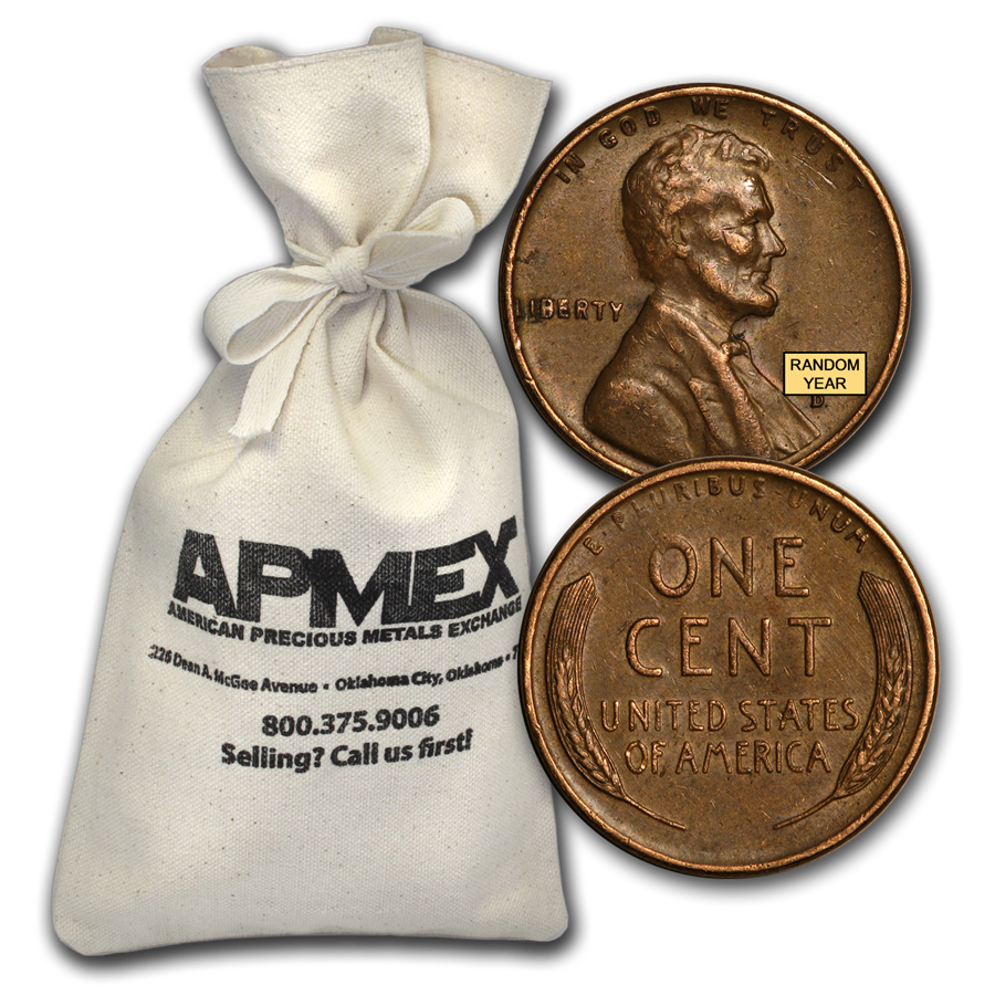 1909-1958 Wheat Cent 1,000 Count Bags