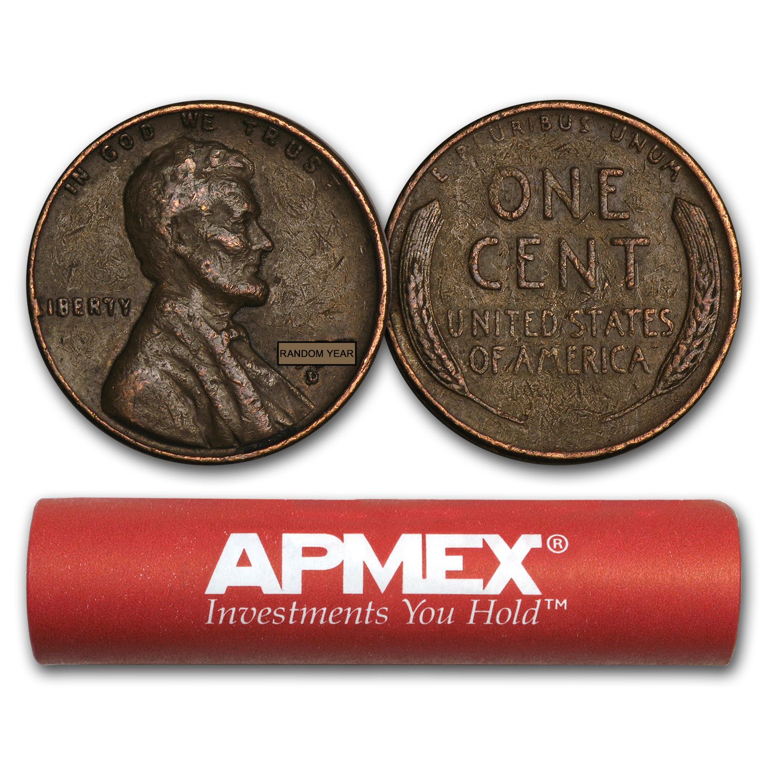 50 Penny Cent Unsearched Coins Roll of 1930-1939 Wheat Pennies