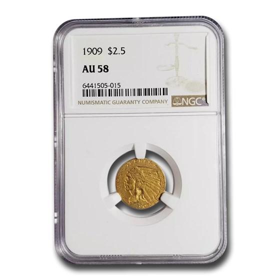 1909 $2.50 Indian Gold Quarter Eagle AU-58 NGC