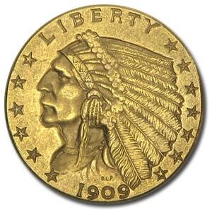 1909 $2.50 Indian Gold Quarter Eagle AU