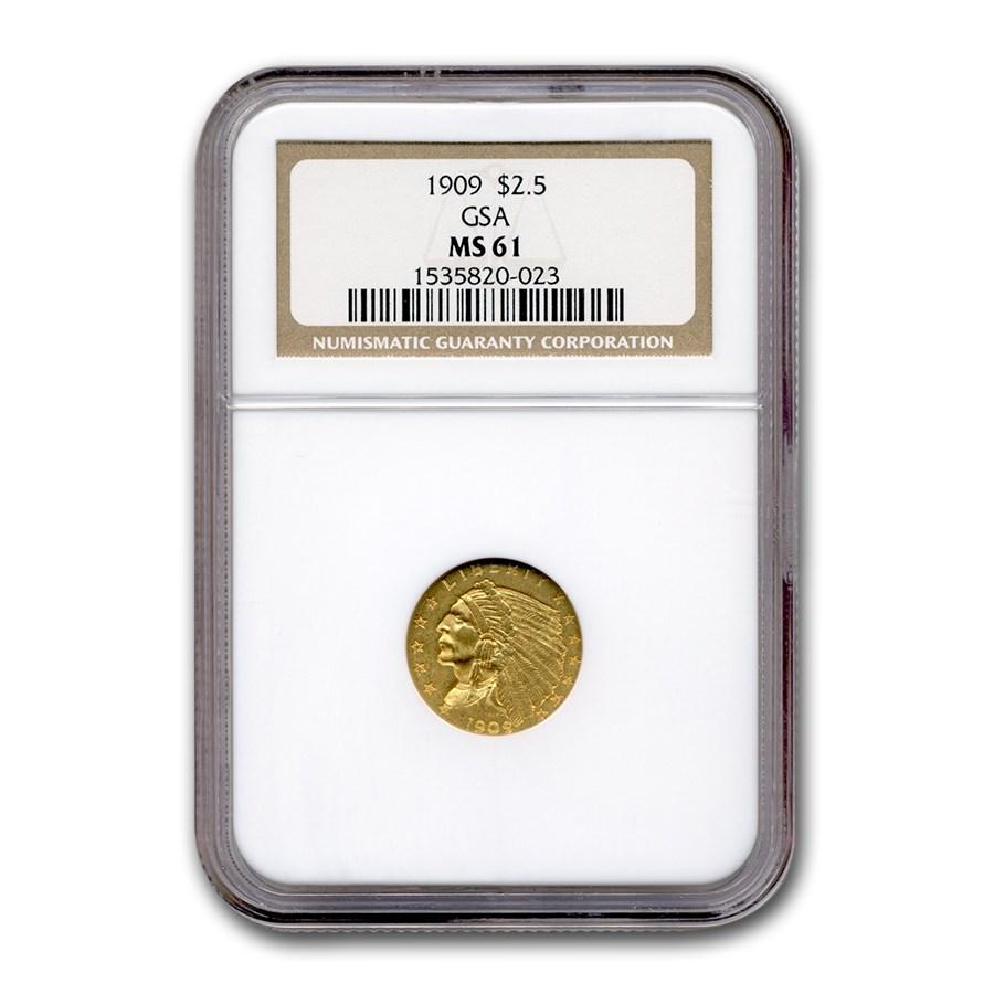 1909 $2.50 Indian Gold Quarter Eagle MS-61 NGC (GSA)