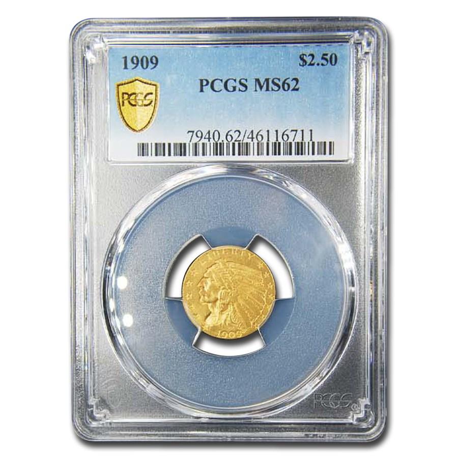 1909 $2.50 Indian Gold Quarter Eagle MS-62 PCGS