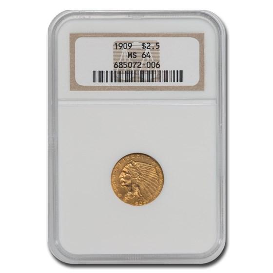 1909 $2.50 Indian Gold Quarter Eagle MS-64 NGC