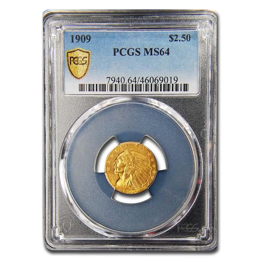1909 $2.50 Indian Gold Quarter Eagle MS-64 PCGS
