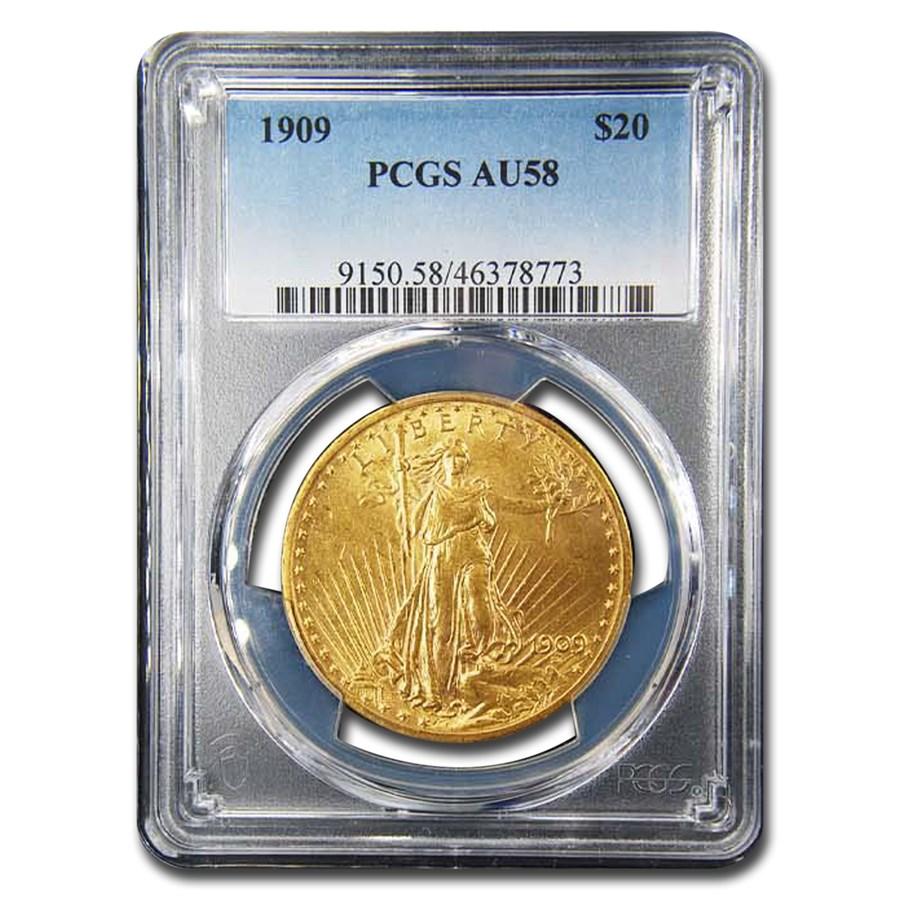 1909 $20 Saint-Gaudens Gold Double Eagle AU-58 PCGS