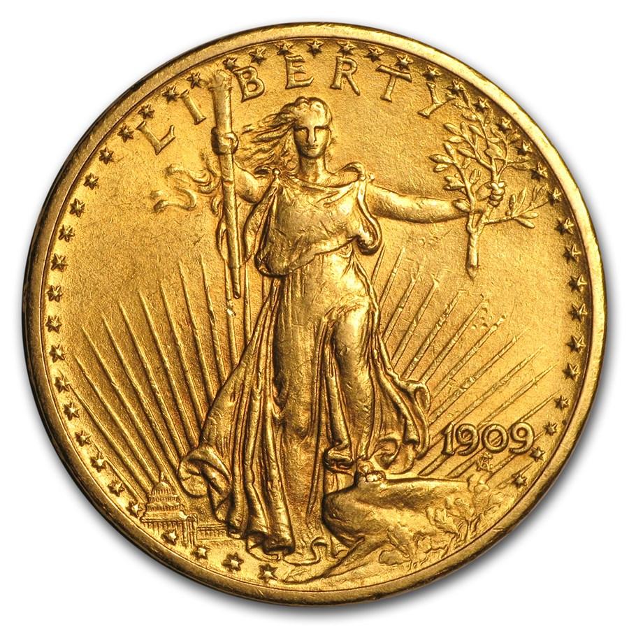 1909 $20 Saint-Gaudens Gold Double Eagle AU