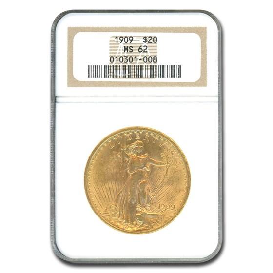 1909 $20 Saint-Gaudens Gold Double Eagle MS-62 NGC